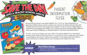 Top image of the flyer for the National School Lunch Week events