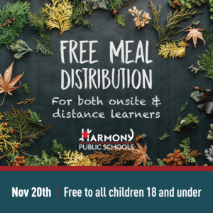 Banner: Free Meal Distribution for both onsite & distance learners. November 20th; free to all children 18 and under.